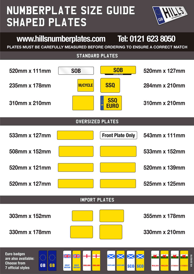 Numberplate Size Guide - Hills Numberplates Ltd